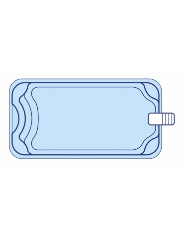 DECLIC Piscines - R600 BF - Coque polyester 6X3 avec banquette